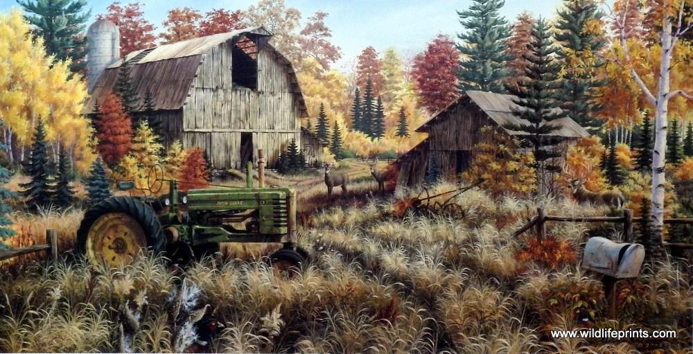 Thomas Kinkade Fall Desktop Wallpaper Mark Daehlin Deer Valley Wildlifeprints Com
