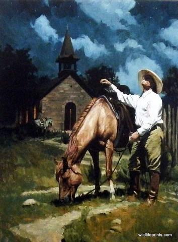 Western Artist Bruce Greene Cowboy Church Print Little
