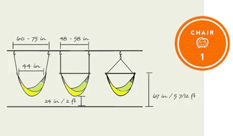 hanging chair bolt summit trophy how to hang a hammock indoors outside with yellow leaf part iii optimal dimensions for your