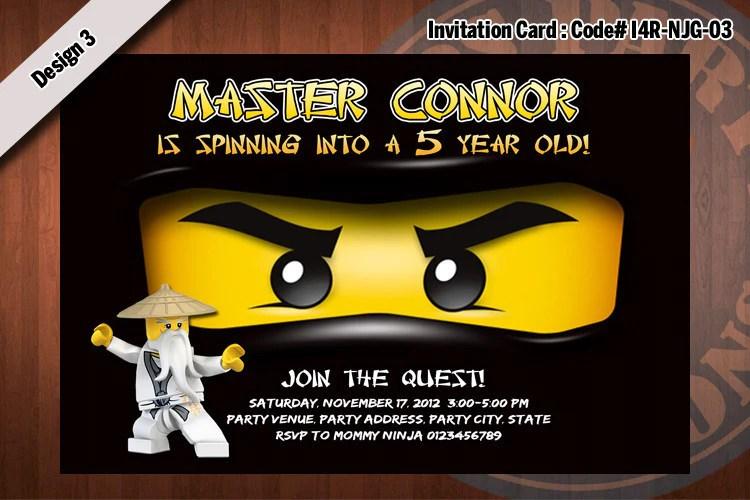 Ninjago Invitation Card D#3 Black Cole Kreationskaboodle