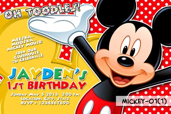 Mickey Mouse PRINTABLE Invitation For Mickey Mouse
