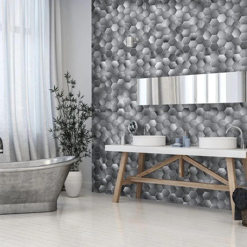 premium large hexagonal grey 1 0m x 2 4m shower panel