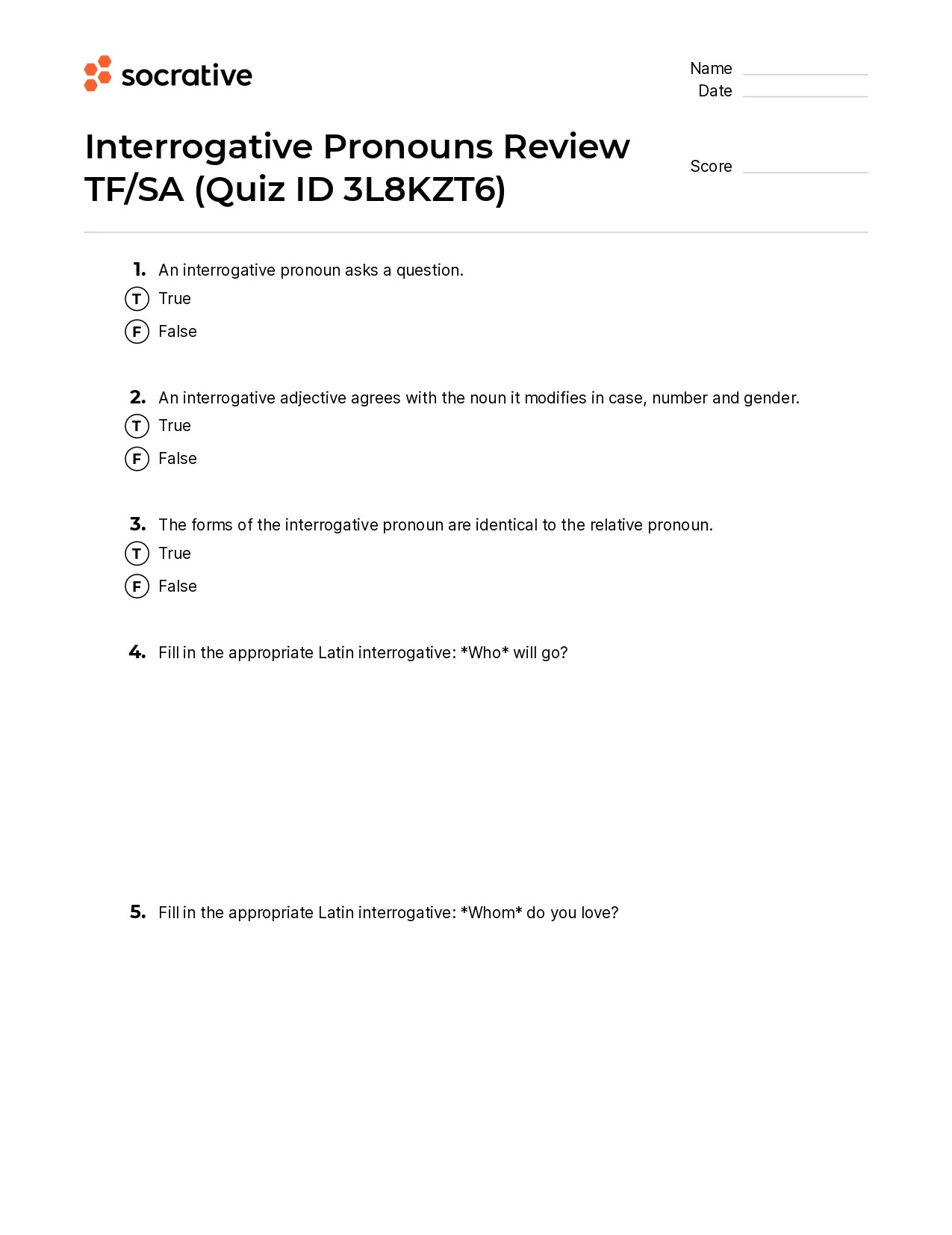 small resolution of Interrogative Pronouns Review Tf/Sa – Quiz Shop
