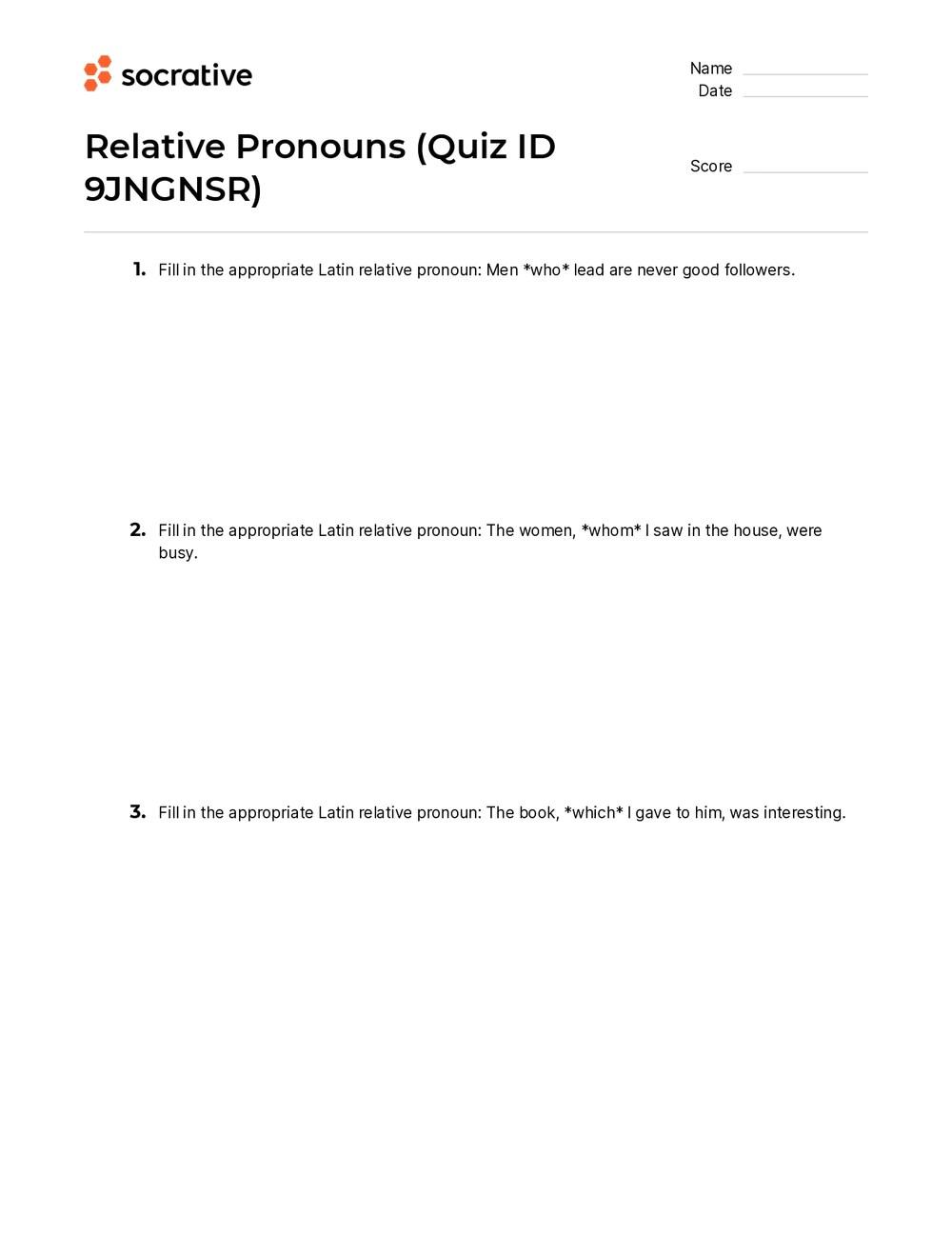 medium resolution of Relative Pronouns – Quiz Shop