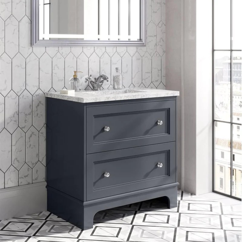 Fairfax 2 Drawer Floorstanding Vanity Unit With Marble Worktop Ceram Deluxe Bathrooms And Tiling Solutions