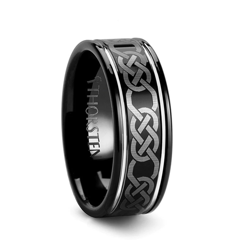 WATERFORD Black Celtic Tungsten Wedding Band For Men