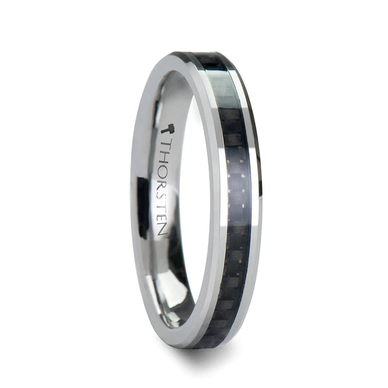 MENLO Womens Tungsten Wedding Band with Carbon Fiber
