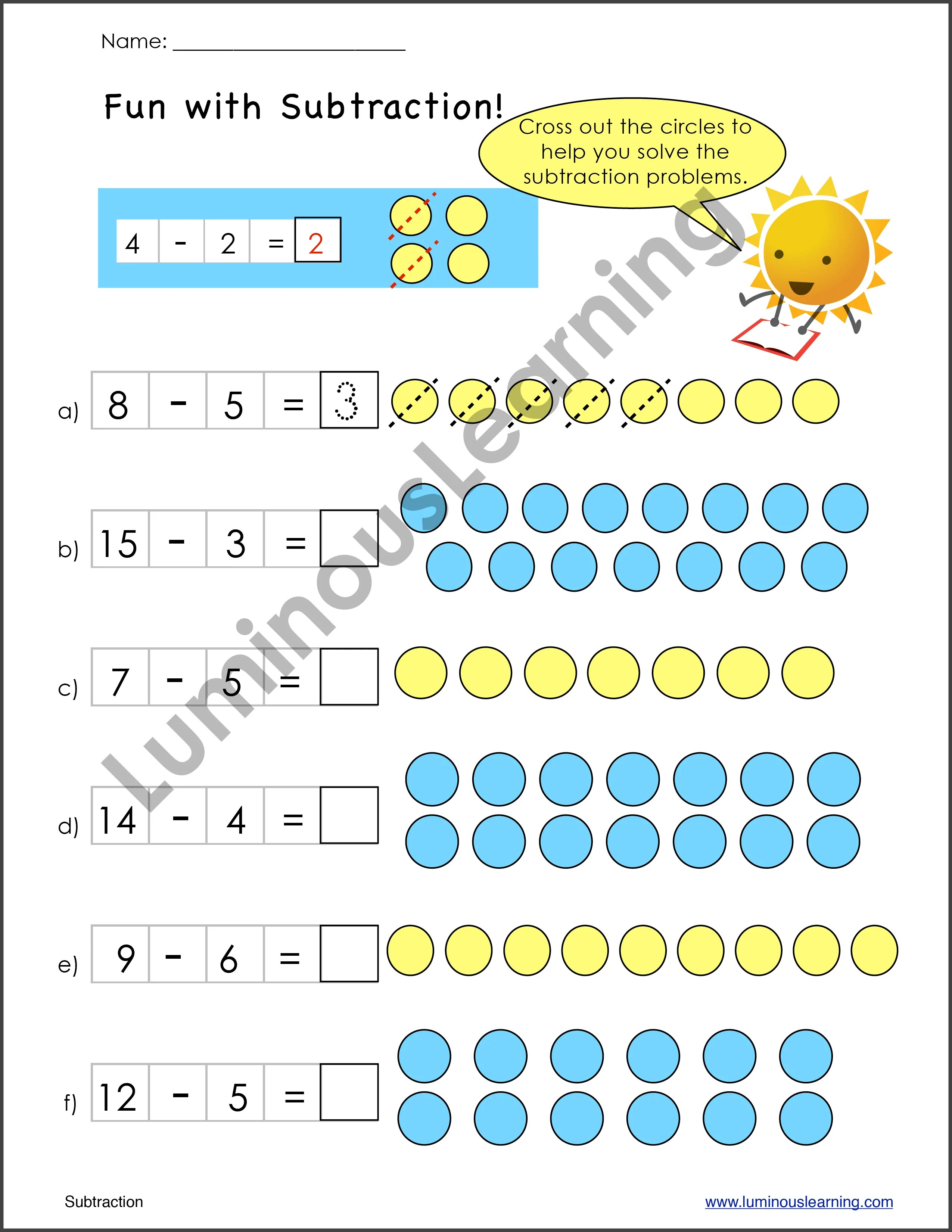 small resolution of Subtraction Worksheets for Special Education - K and Grade 1