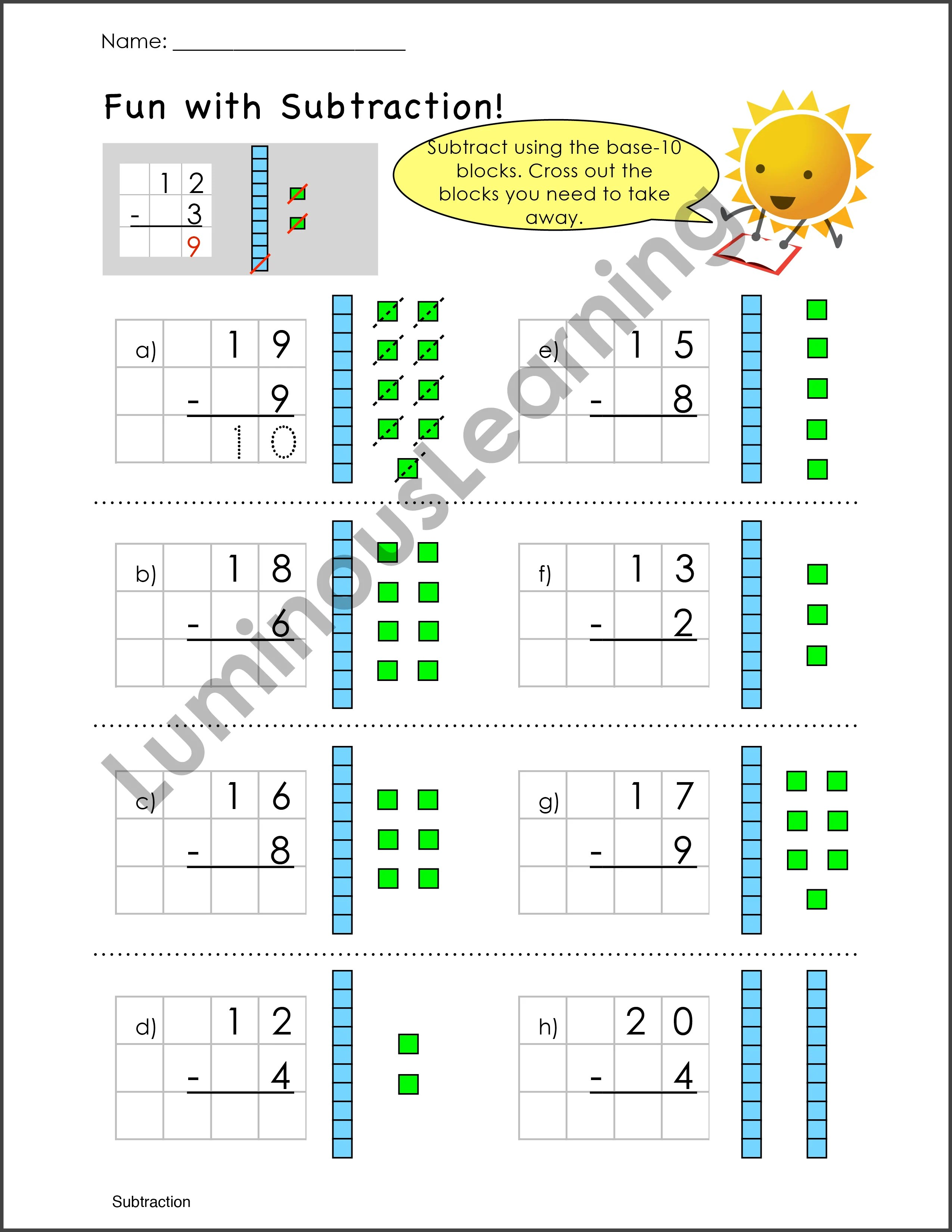 medium resolution of Subtraction Worksheets for Special Education - K and Grade 1
