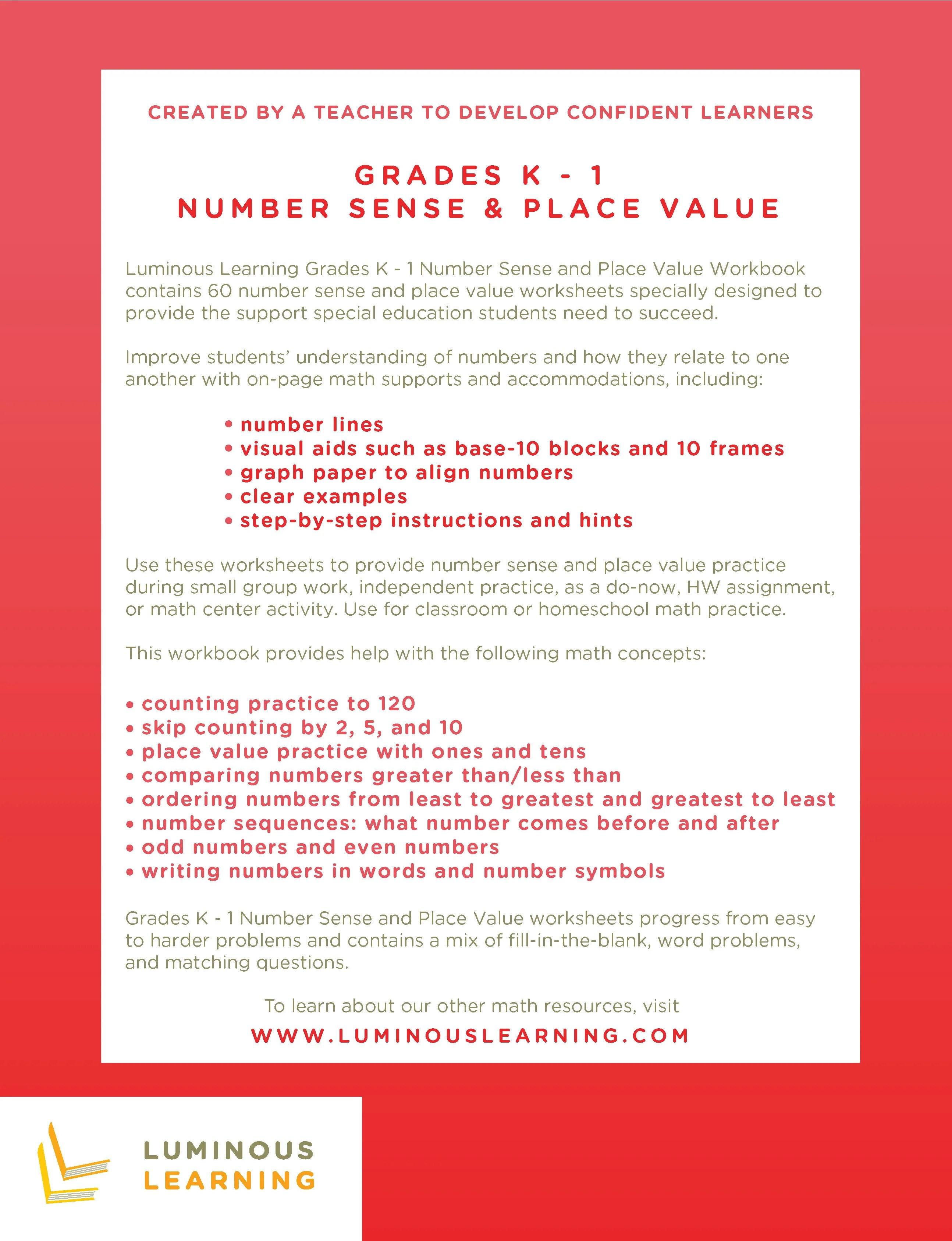 Number Sense \u0026 Place Value Worksheets - Special Ed - K \u0026 Grade 1 [ 3372 x 2588 Pixel ]