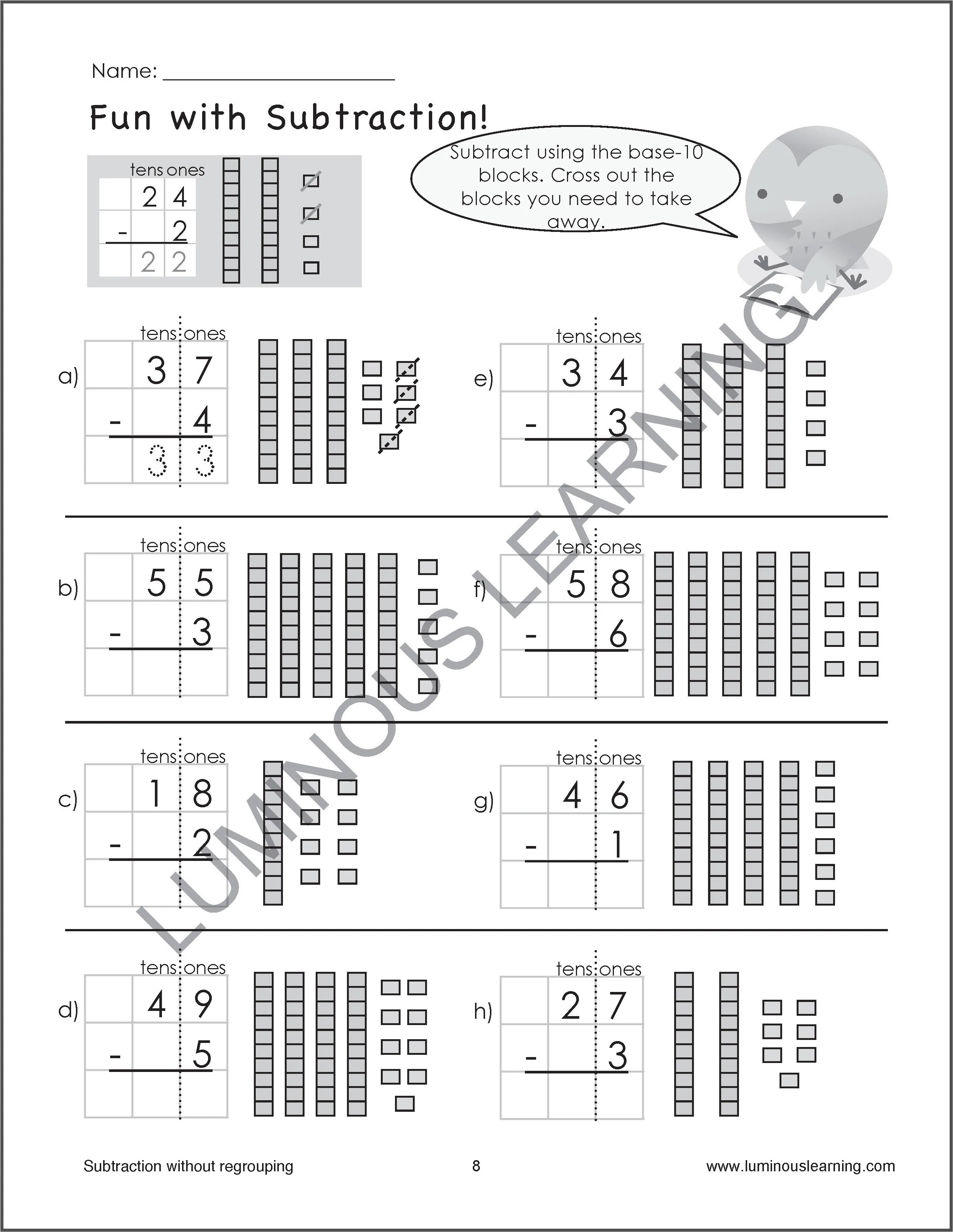 medium resolution of Subtraction Worksheets for Special Education - Grade 2
