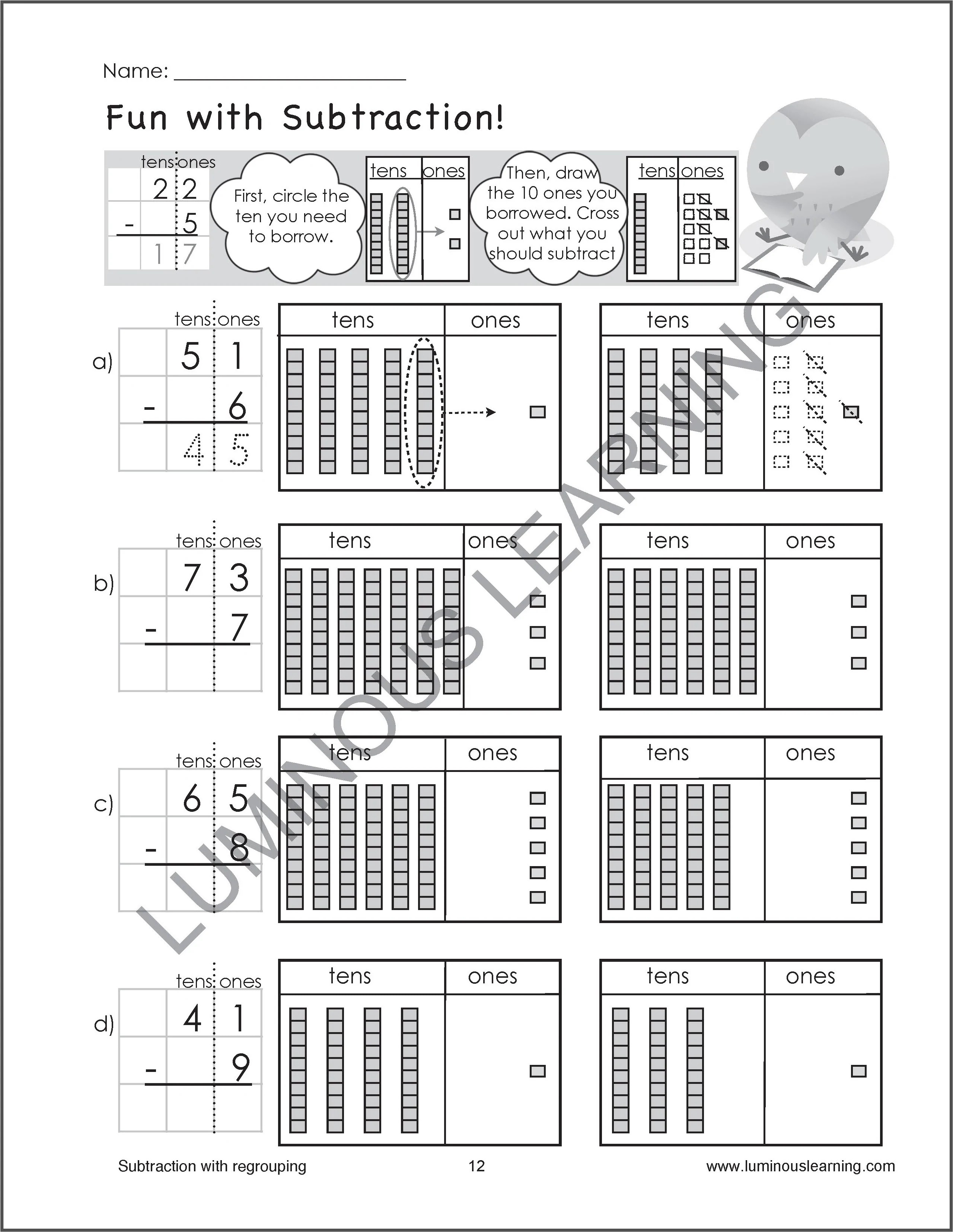 hight resolution of Subtraction Worksheets for Special Education - Grade 2