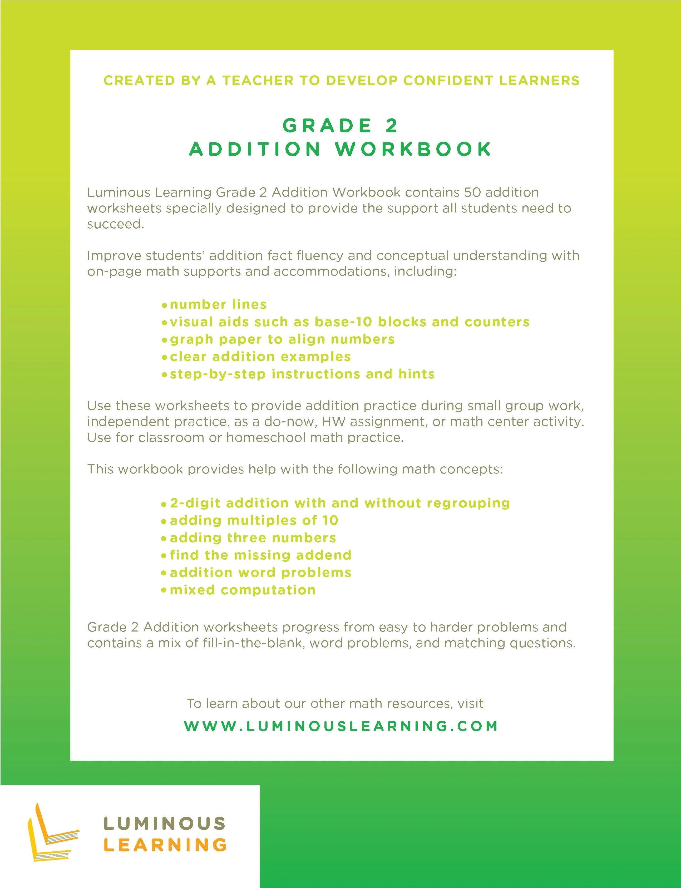 medium resolution of Addition Worksheets for Special Education - Grade 2