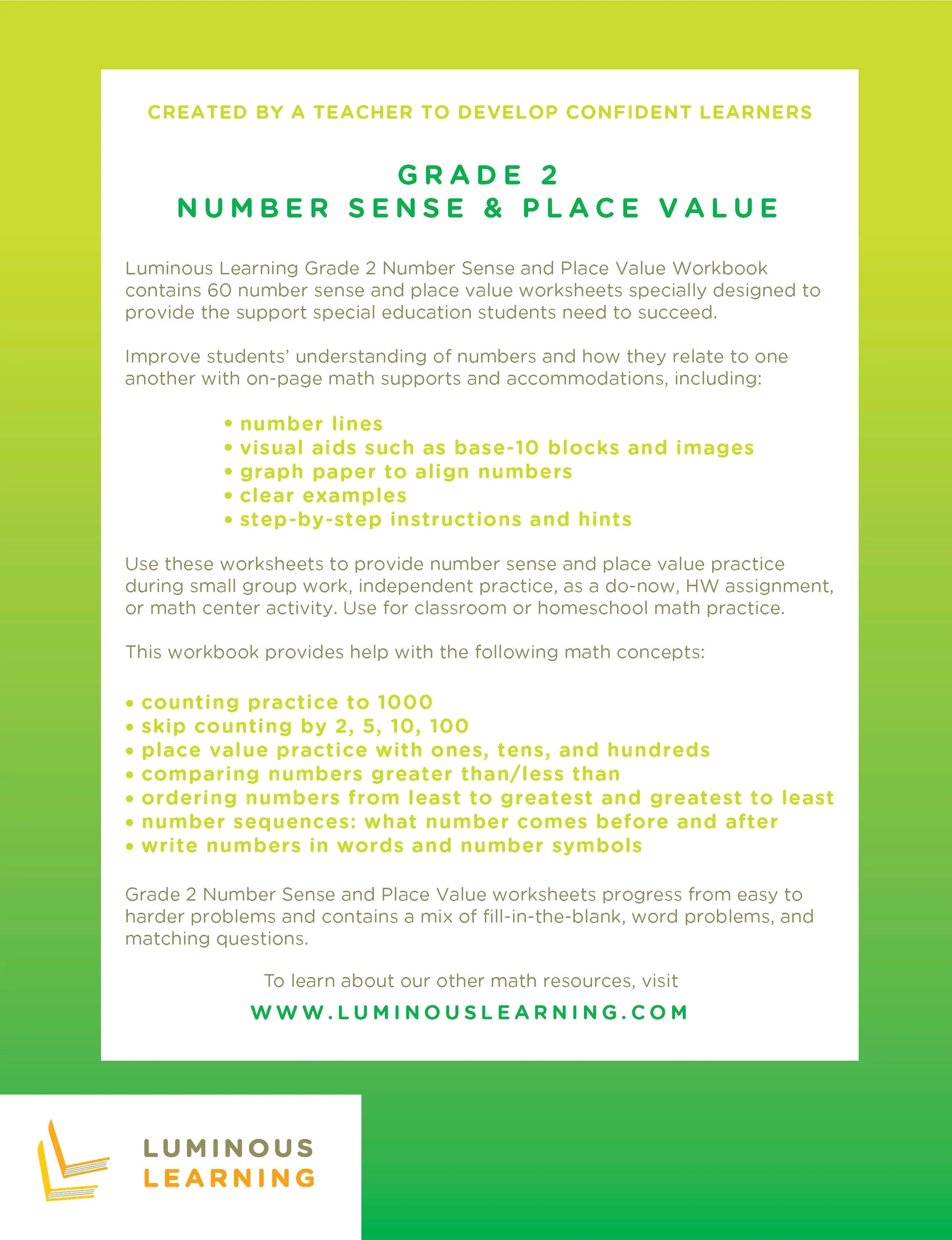 small resolution of Number Sense \u0026 Place Value Worksheets - Special Ed - Grade 2