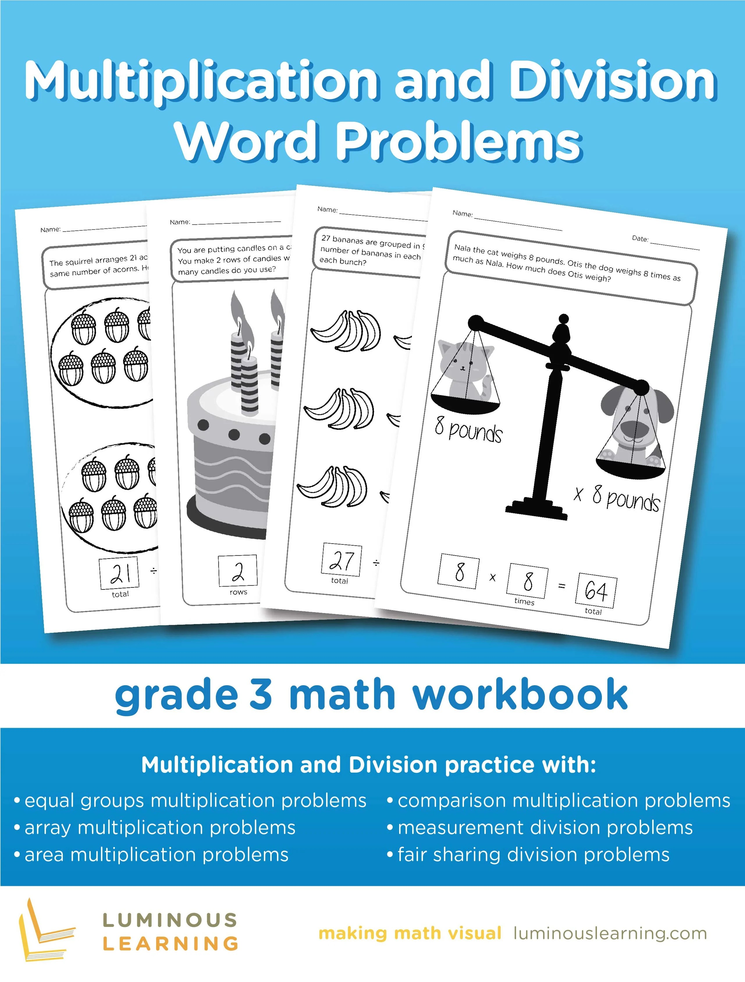 hight resolution of Multiplication and Division Word Problems - Grade 3 Math Workbook: Mak