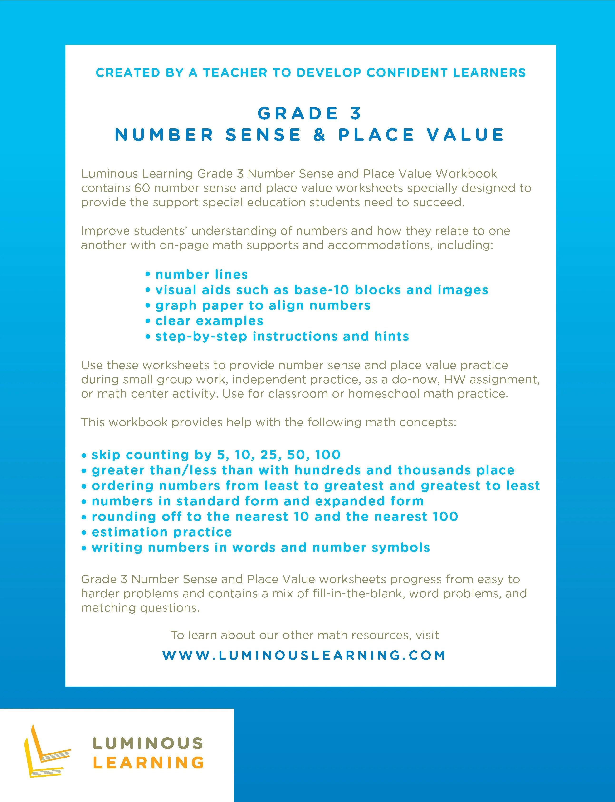 Number Sense \u0026 Place Value Worksheets - Special Ed - Grade 3 [ 3372 x 2586 Pixel ]