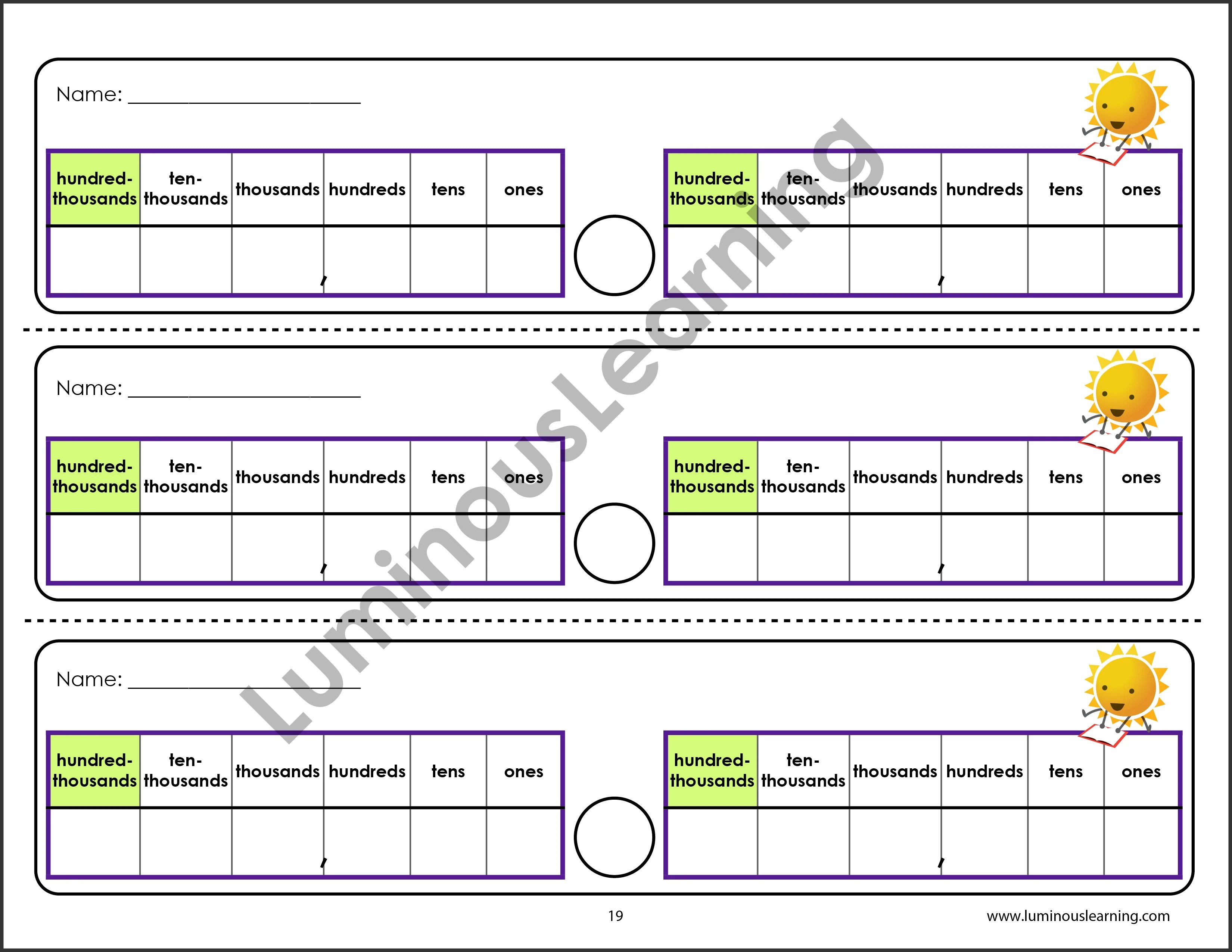 small resolution of Grade 5 Comparing Numbers: Printable Workbook