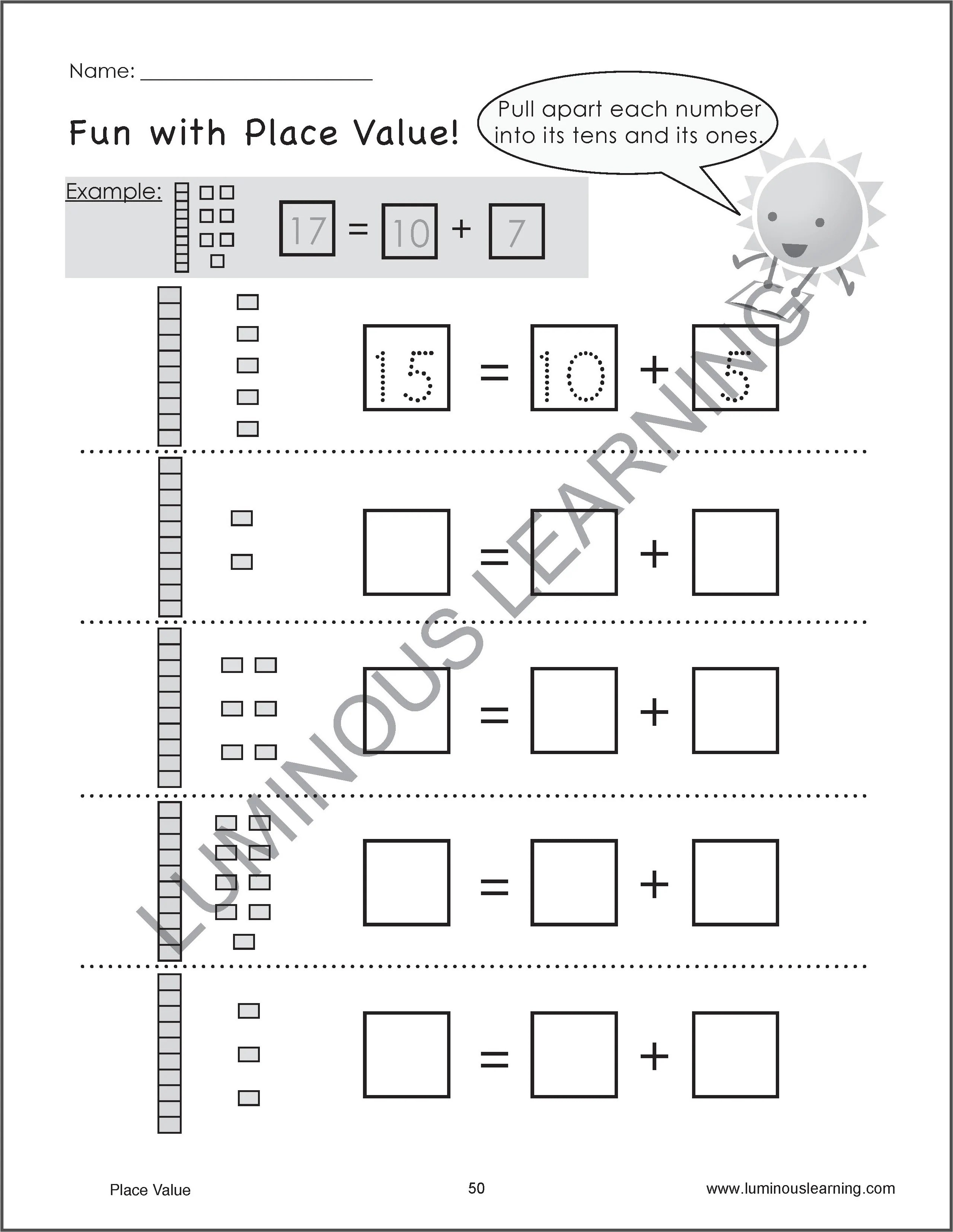 Number Sense \u0026 Place Value Worksheets - Special Ed - K \u0026 Grade 1 [ 3310 x 2560 Pixel ]