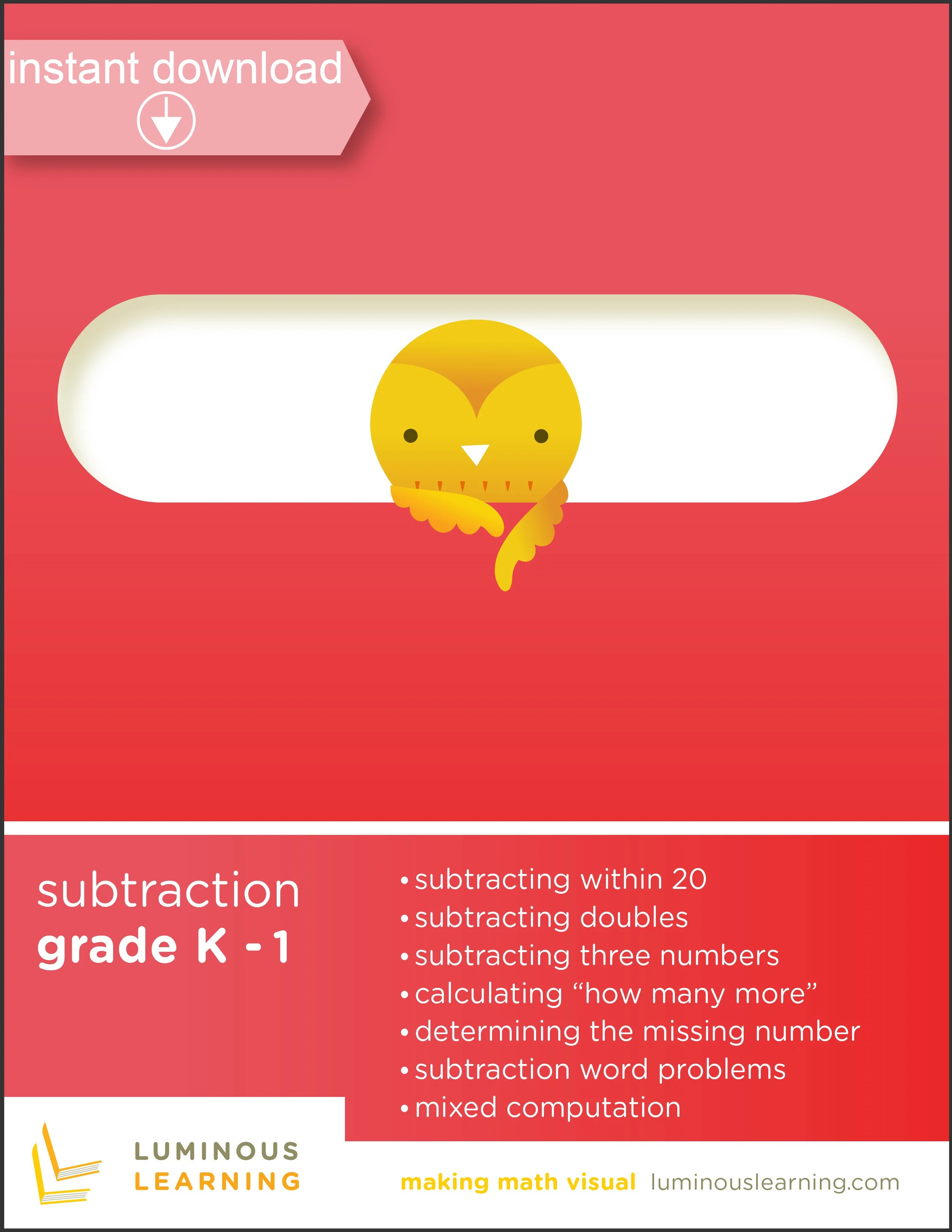 Subtraction Worksheets for Special Education - K and Grade 1 [ 3300 x 2550 Pixel ]
