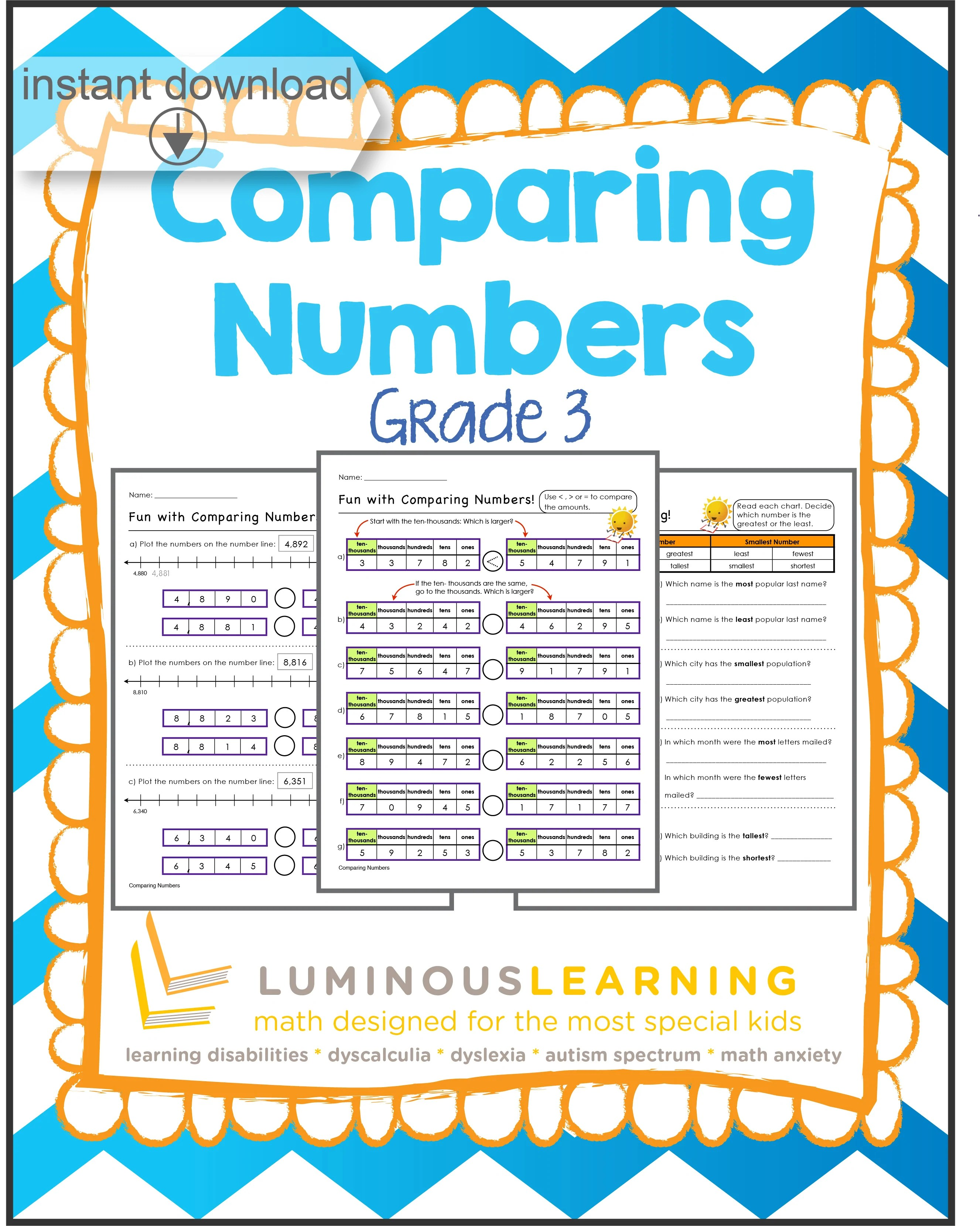 hight resolution of Grade 3 Comparing Numbers: Printable Workbook