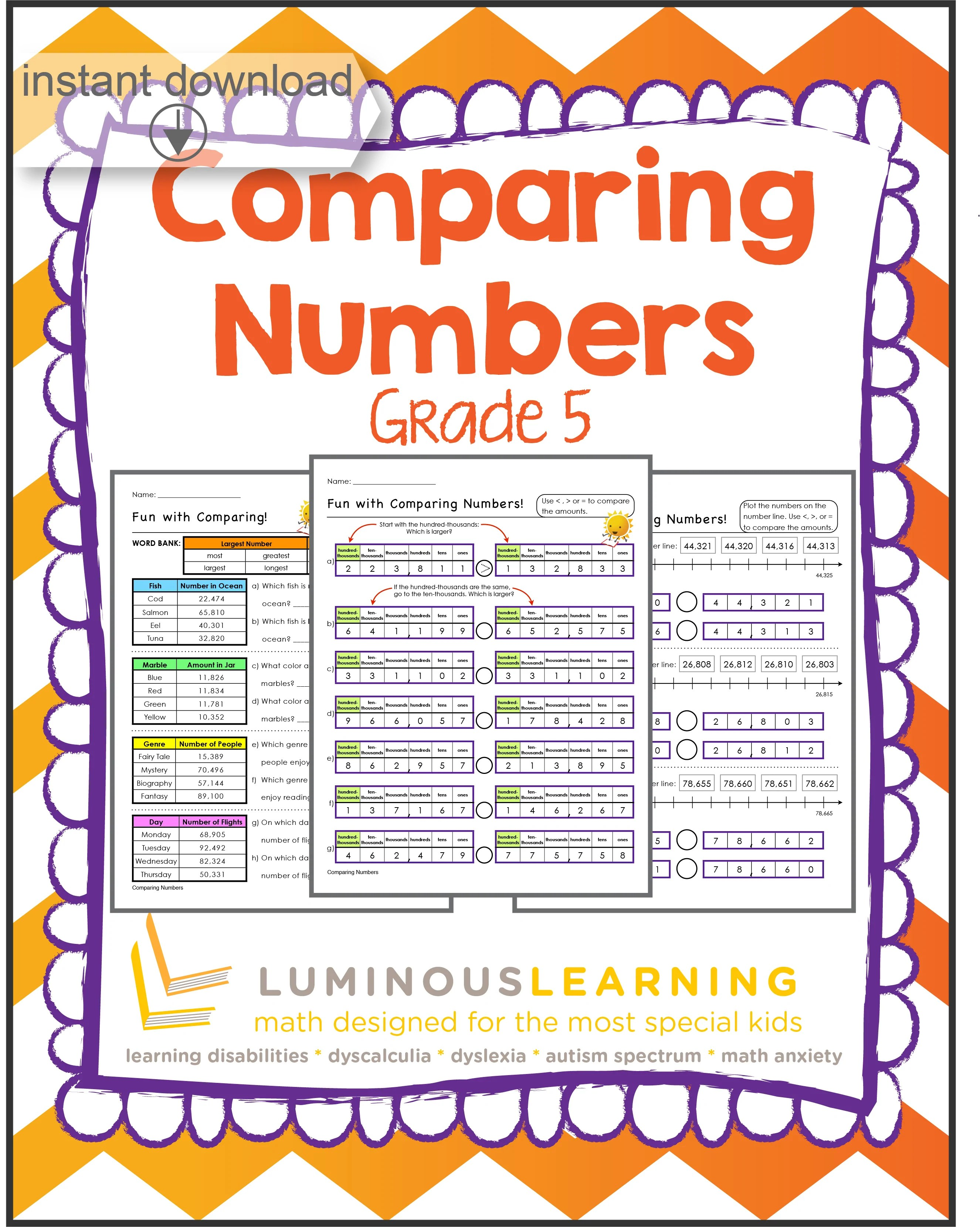 hight resolution of Grade 5 Comparing Numbers: Printable Workbook