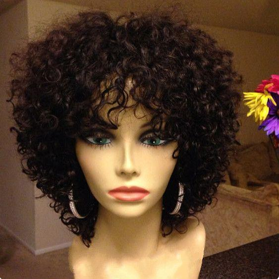 Lace Front Wigs Black Natural Color African American Short Natural