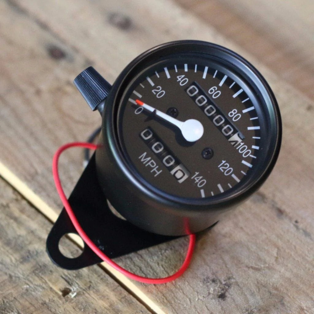 black mini speedometer w odometer trip 1000 60 ratio cognito  [ 1024 x 1024 Pixel ]