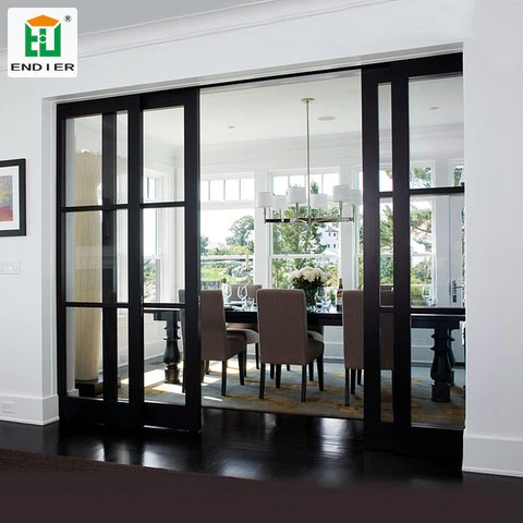 industrial trackless interior black sliding french doors aluminium 4 panel interior doors glass patio sliding doors on china wdma