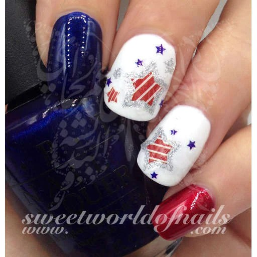 4th of july nail art water decals