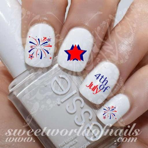 4th of july nail art stars fireworks