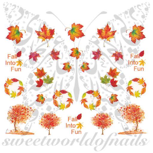 autumn fall nail art trees