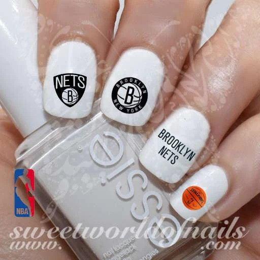 brooklyn nets nail art nba basketball
