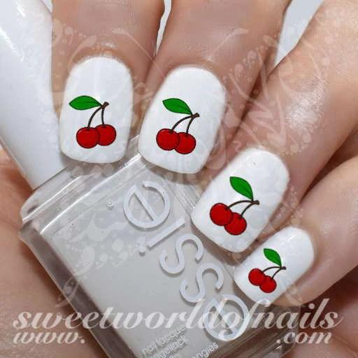 cherry nail art cherries water