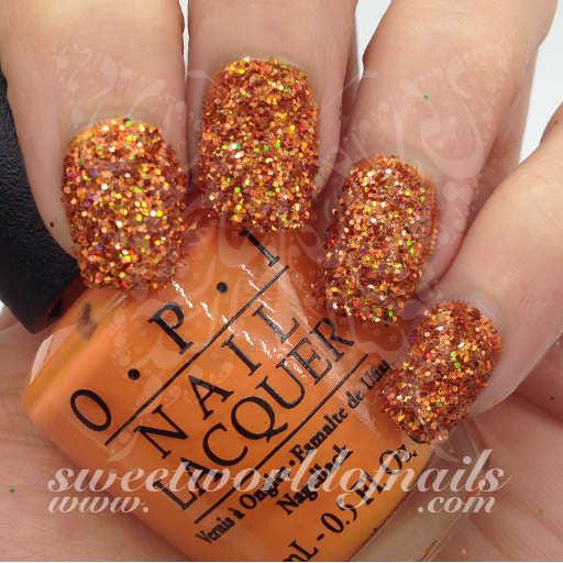 nail glitter light orange sparkle