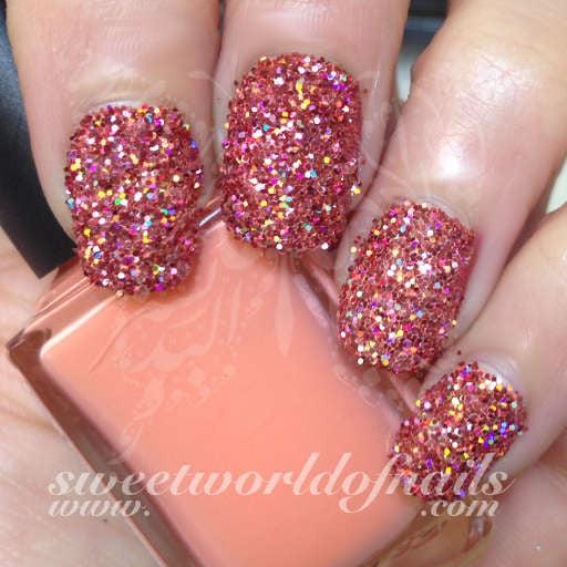 Nail Glitter Peach Sparkle Glitter Dust Powder Nail Art