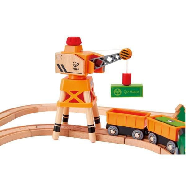 Hape Crane And Cargo Wooden Train Set Kidzinc Australia