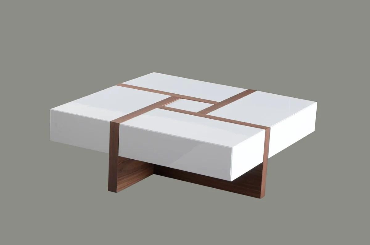 mochi modern white walnut square coffee table