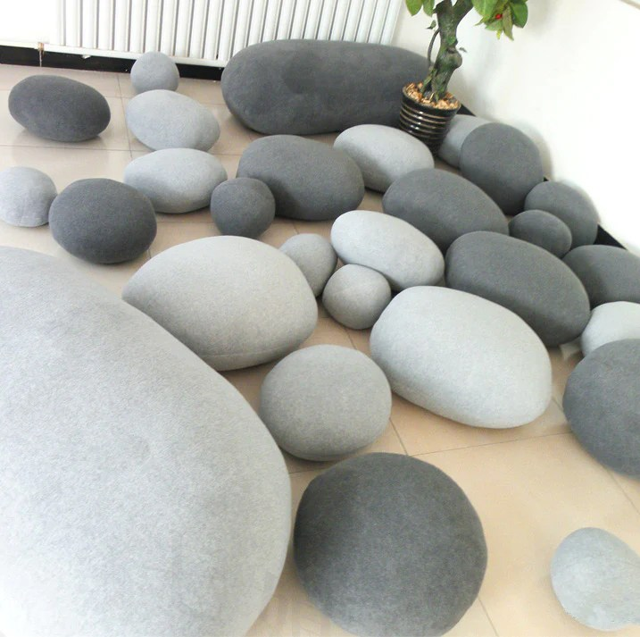6 PACK Pebble Stone Pillows  Beige or grey Rock bean bag