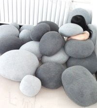 6 PACK Pebble Stone Pillows - Beige or grey Rock bean bag ...
