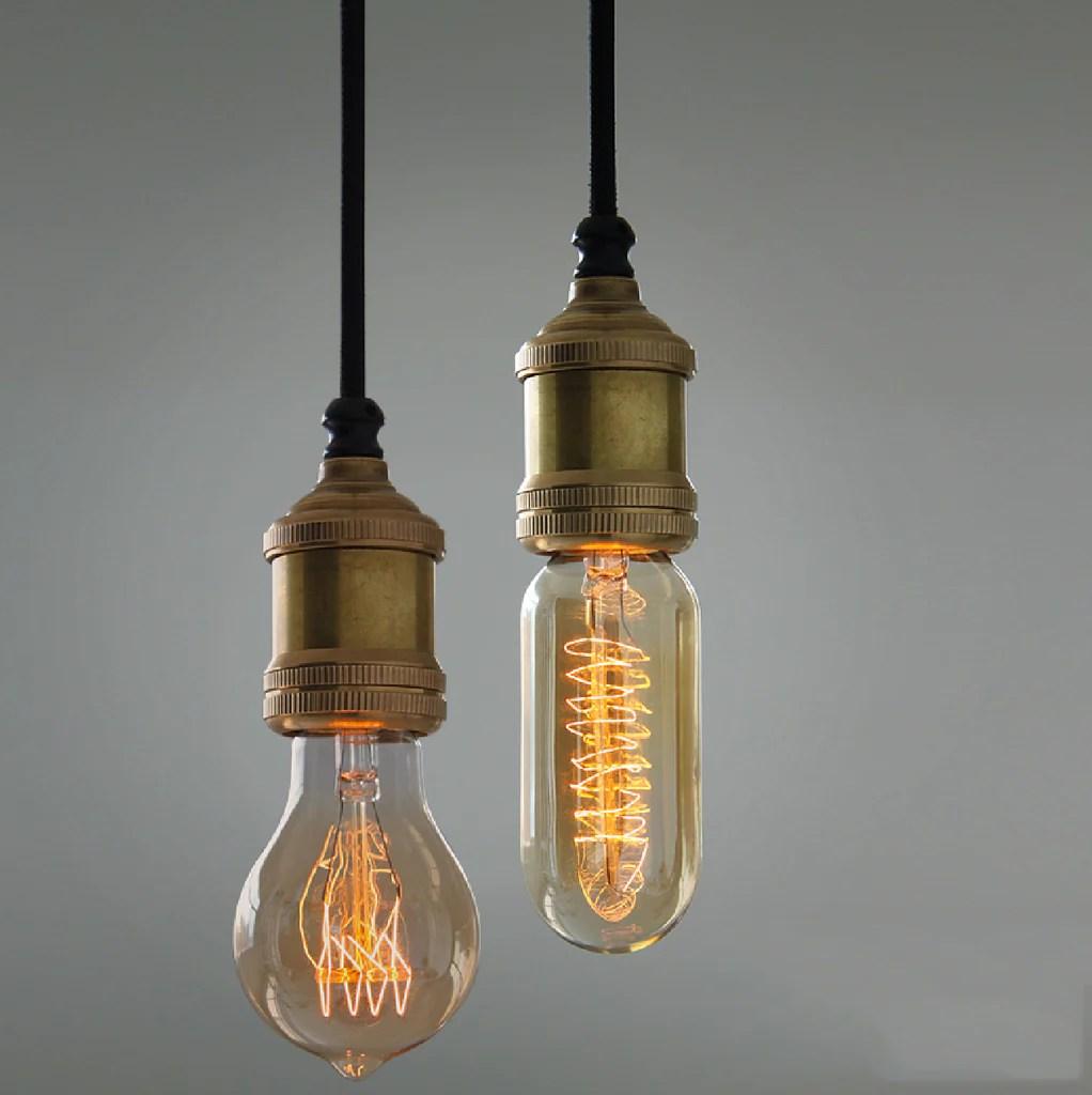 Solitaire Bronze Bare Edison Bulb Pendant Light Tudo And