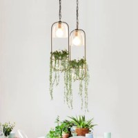 Hanging plant vase pendant light in brass  Tudo And Co