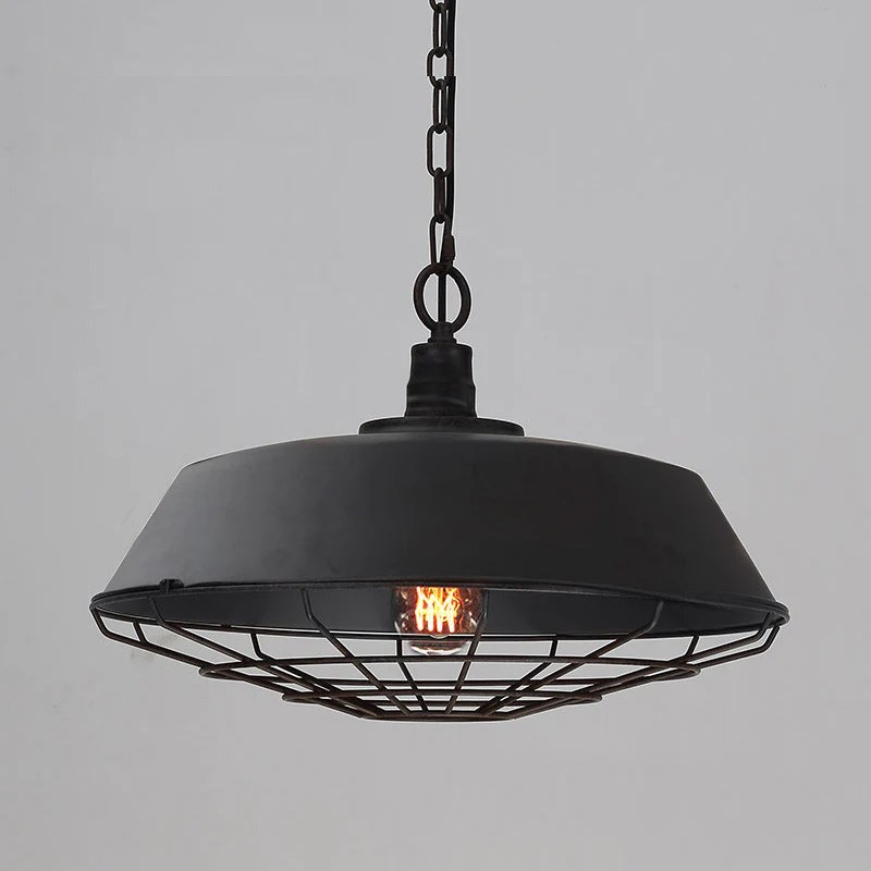 Vintage Industrial Pendant Light with Cage