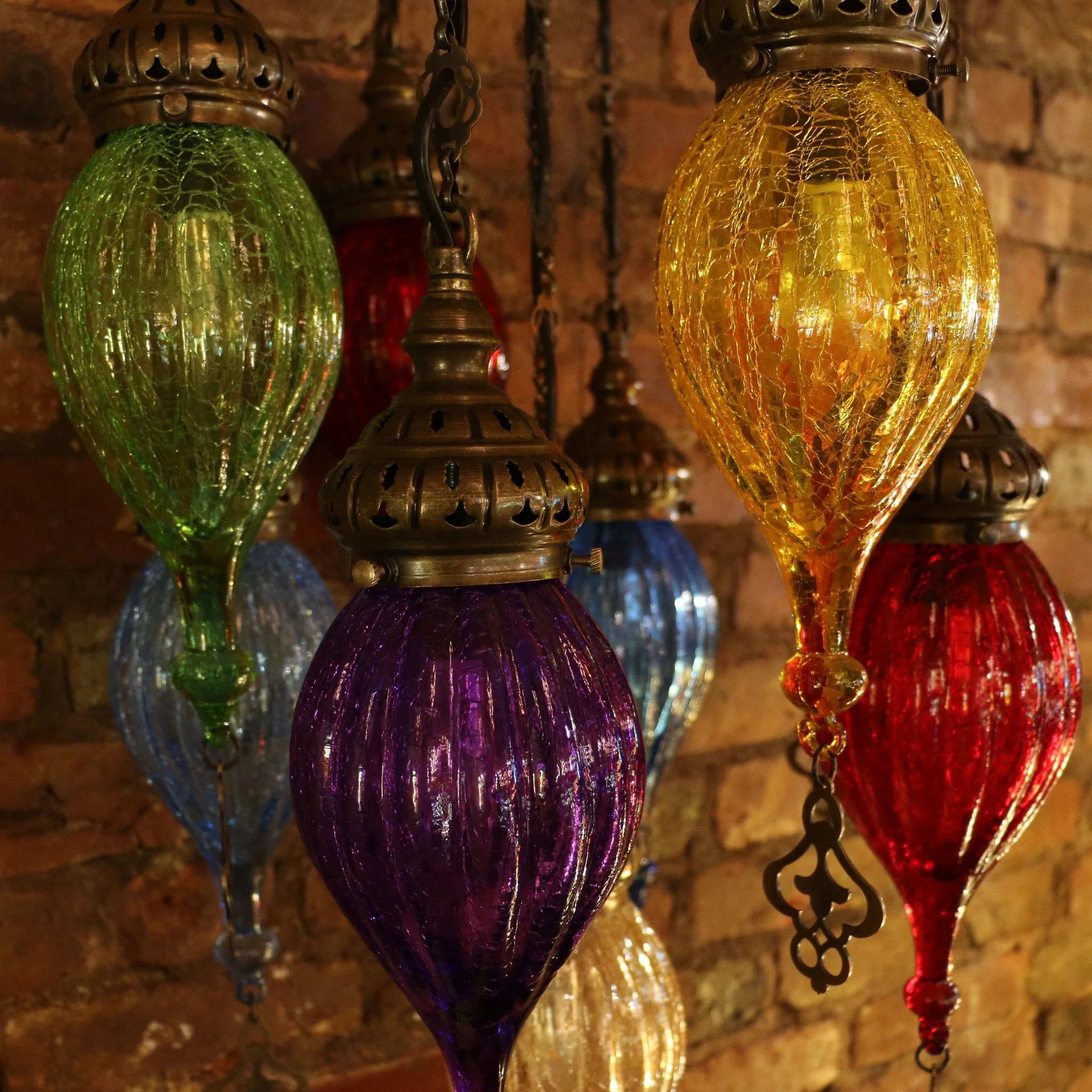 Our Mosaic Lamps are Handmade of Colored Glass and