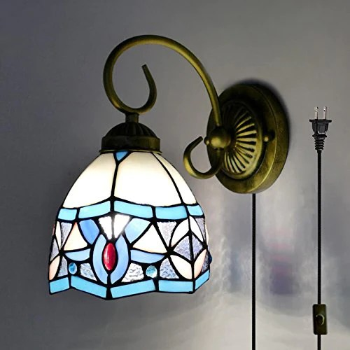 plug in wall lamp tiffany style e26 base glass shade wall sconce