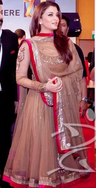 Aishwarya rais dark beige color anarkali suit  Panache Haute Couture