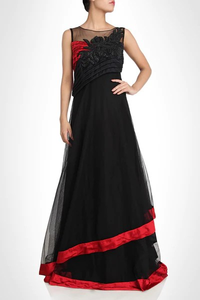 Designer gown in black color  Panache Haute Couture