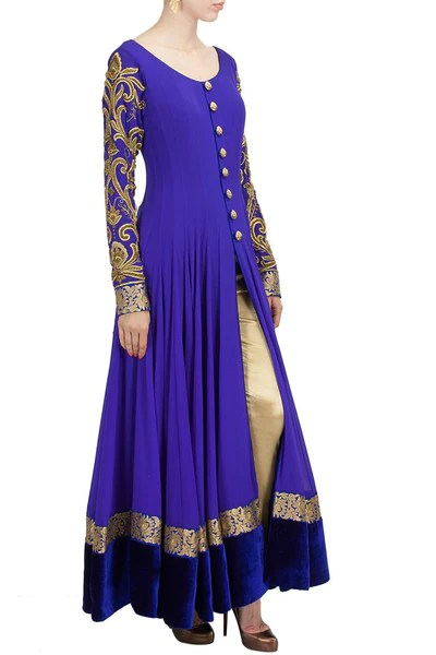 Floor length anarkali suit in royal blue color  Panache Haute Couture