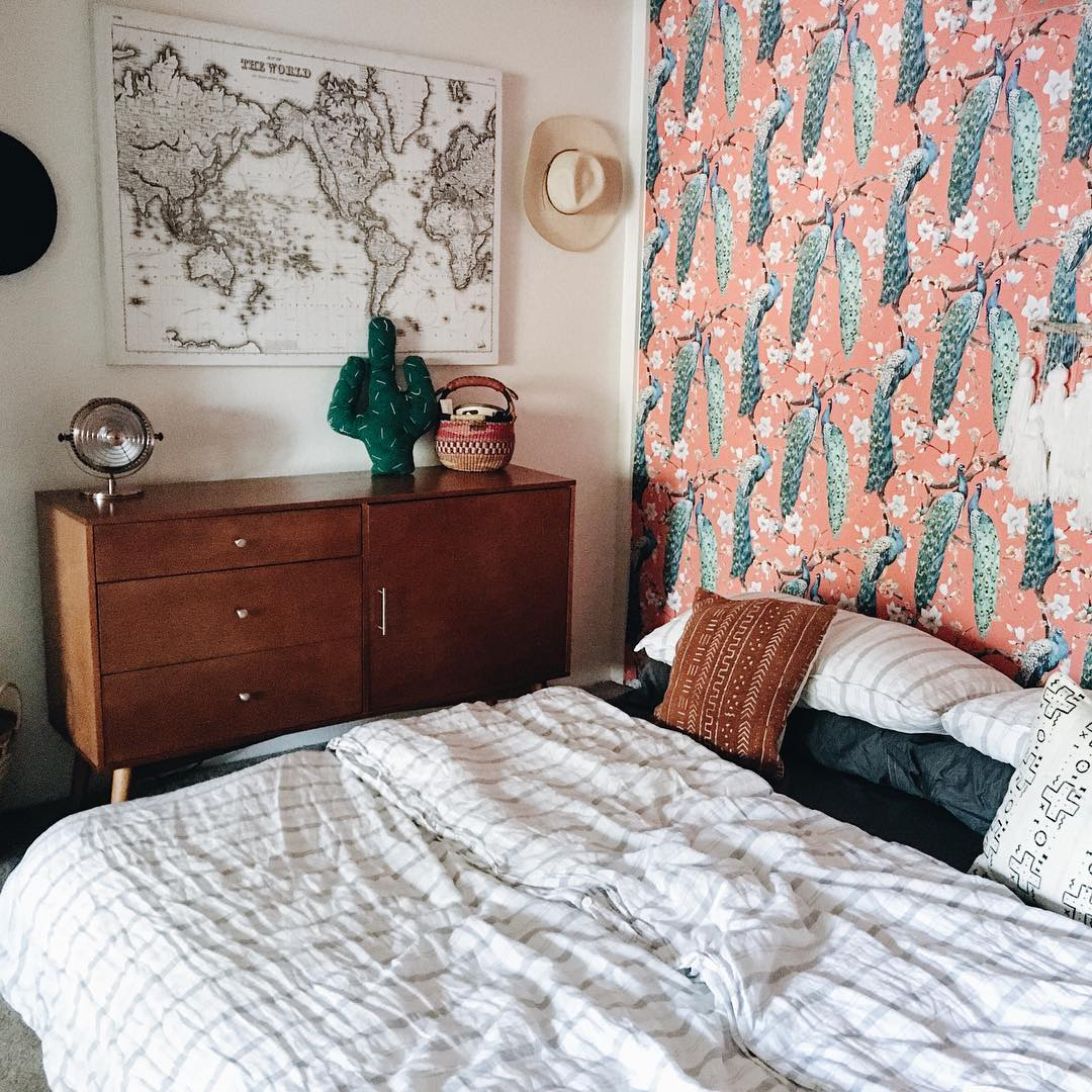 Bold and beautiful bohemian inspired removable wallpaper by WallsNeedLove