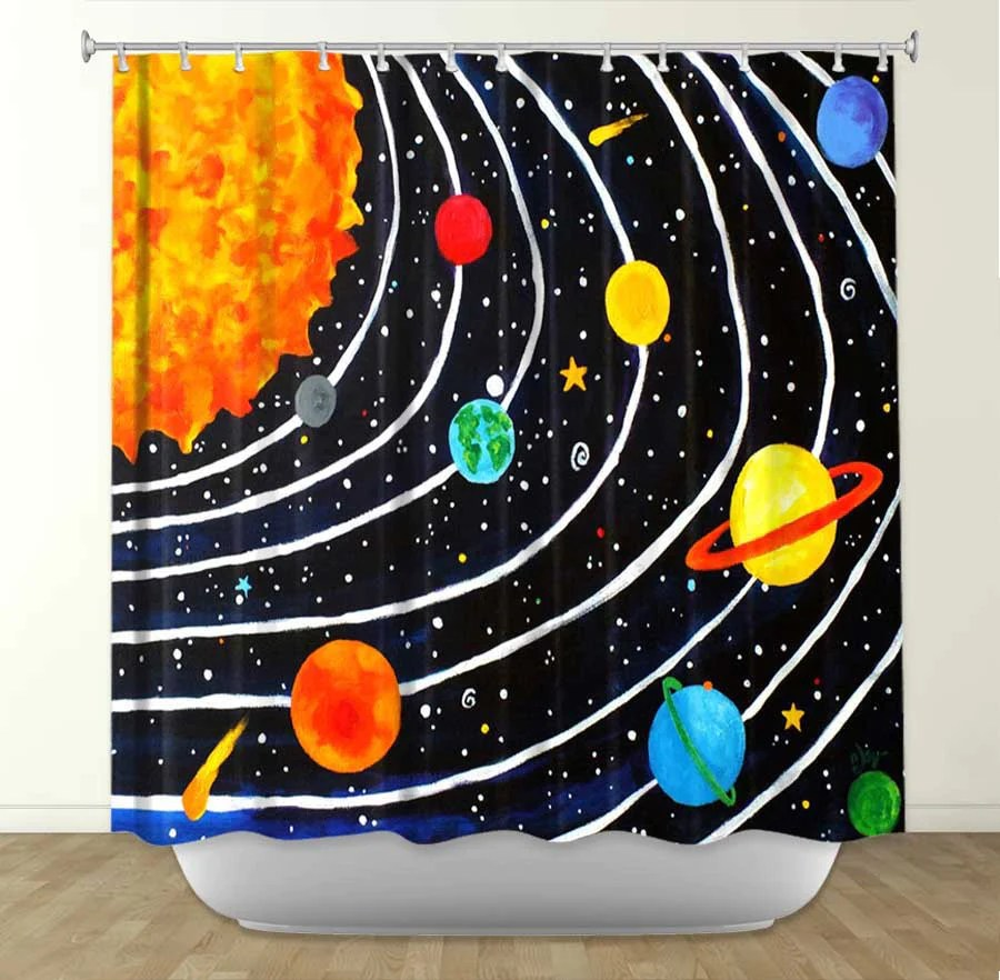 Solar System By Nicola Joyner Fabric Shower Curtain