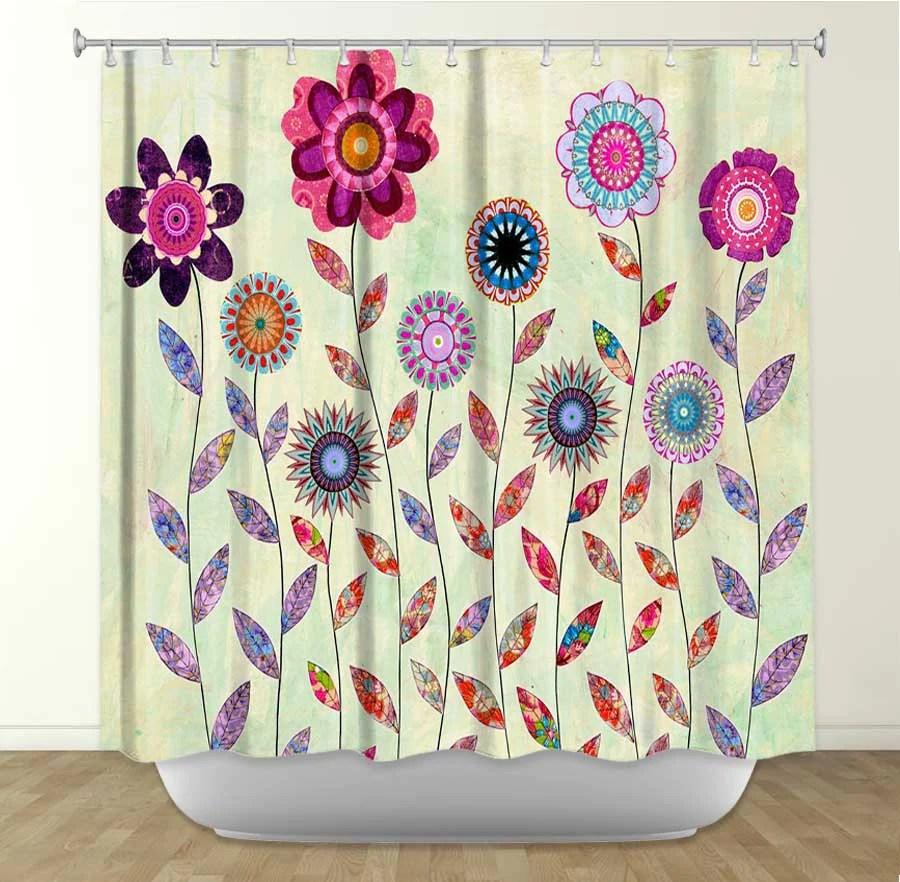 Purple Flowers By Sascalia Fabric Shower Curtain – Showercurtainhq Com